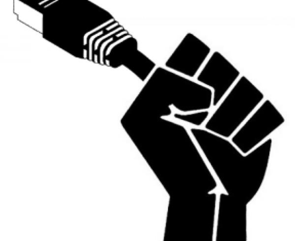 fist holds cat5plug